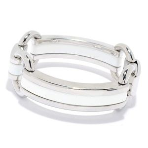 Samuel B Jewelry White Enamel Link Accent Bracelet